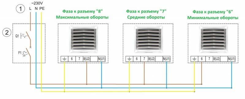 Метод №1 Пряме підключення тепловентиляторів VOLCANO VR