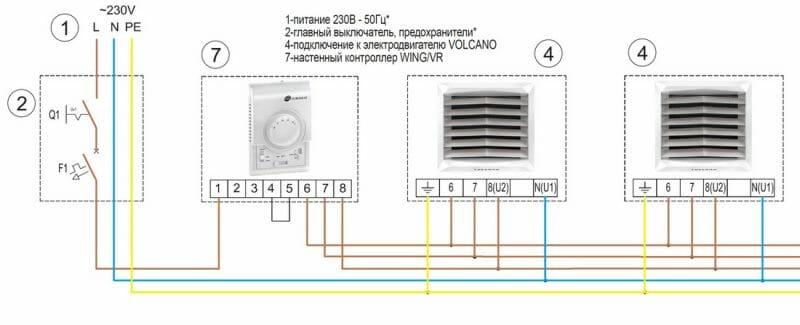 Підключення тепловентилятори VOLCANO VR через TR110C-B