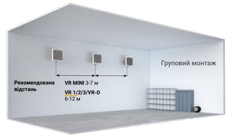 Груповий монтаж тепловентиляторів Volcano на стіну