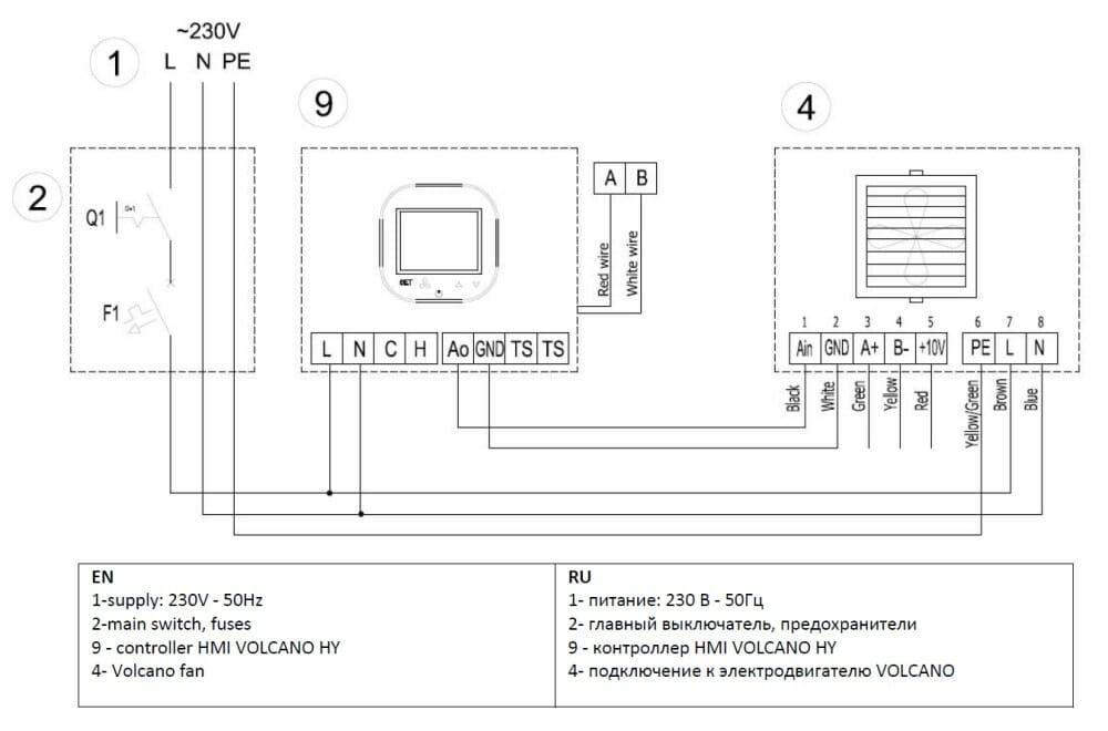 Схема подключения контроллера Volcano HY к тепловентилятору Volcano